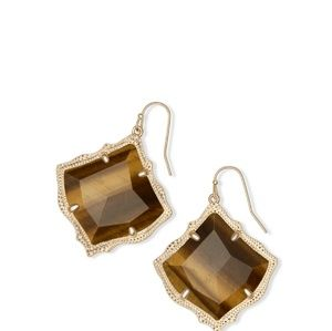 "KENDRA SCOTT ""KIRSTEN"" TIGERS EYE EARRINGS NWT!"